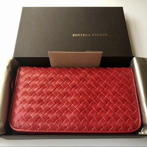 Bottega Veneta Intrecciato Weave Zip Around Wallet